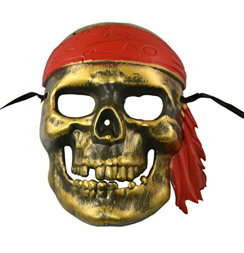 Male Pirate Adult Mask (Caribbean Pirate Mask Halloween (Gold))