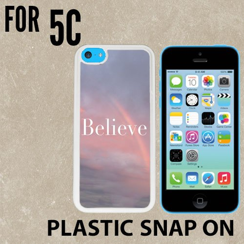 Believe Beautiful Sunset Rainbow Custom made Case/Cover/skin FOR iPhone 5C -White- Plastic Snap On Case ( Ship From - From Case Chanel 6 Iphone