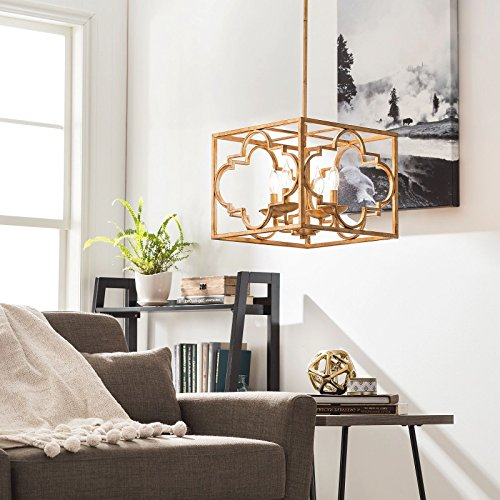 Modern Farmhouse Chandelier For High And Low Ceiling Rooms. Candle Style Hanging Lantern Lamp Provides Warm Multidirectional Lighting. Pendant Light Fixture With Rustic Accents Creates Timeless (Multi Directional Accent Light)