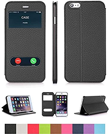 Cover custodia flip Case con doppia finestra per Apple iPhone 6/6S
