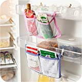 Home Cube 2 Pc Refrigerator Storage Bag Tidy Seasoning Organizer Mesh Bags Kitchen Fridge Vegetable Organizer Pouch Hanging Pocket.