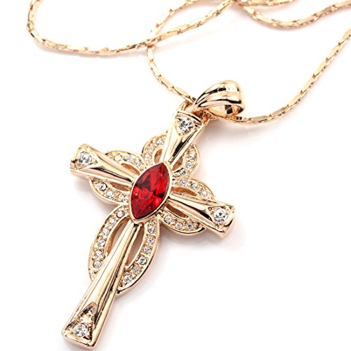 (FC JORY Rose Gold Plated Cross Pendant Crystal Red Chain Necklace)