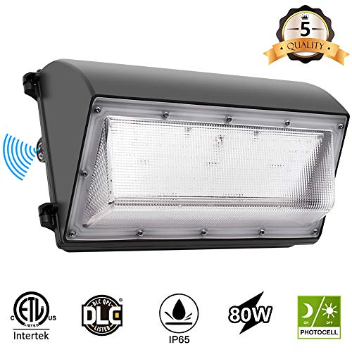 CINOTON LED Wall Pack Light, 80W 9600lm, 5000K Daylight Dusk to Dawn Photocell Outdoor Wall Light, Waterproof IP65 Commercial Lighting Fixture,125W-500W HPS/MH Replacement, ETL DLC Listed