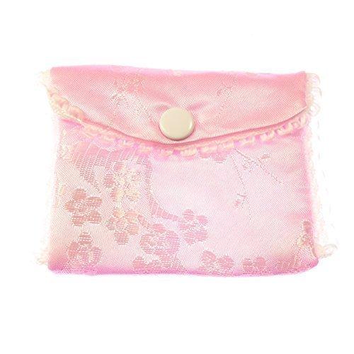 Tela rosa bordado rosario monedero botón botones cierre 8cm sedoso