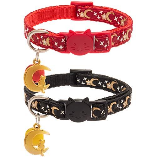 PUPTECK 2 pcs/Set Adjustable Kitty Puppy Cute Collar with Moon Sun - Collar Adjustable Kitty