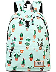 AOAKY Backpacks Pineapple School Bookbag Cactus Daypack Lightweight Canvas College Bags by (Green-Cactus)