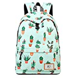 Backpacks Pineapple University Bookbag Cactus Daypack Lightweight Canvas College Bags by AOAKY (Green-Cactus)