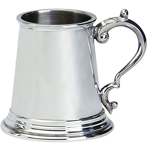 (iLuv Christening Gift 1/4 pt Pewter Cup Engravable with Handle Plain Design )