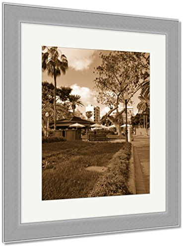 Ashley Framed Prints Colorful Flowers In Parque Santa Catalina Las Palmas Spain, Wall Art Home Decoration, Sepia, 40x34 (frame size), Silver Frame, AG6224194 by Ashley Framed Prints
