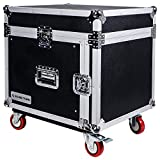 Sound Town 8-Space PA/DJ Rack/Road Case with Slant Mixer Top and Casters (STMR-8UW) (STMR-8UW)