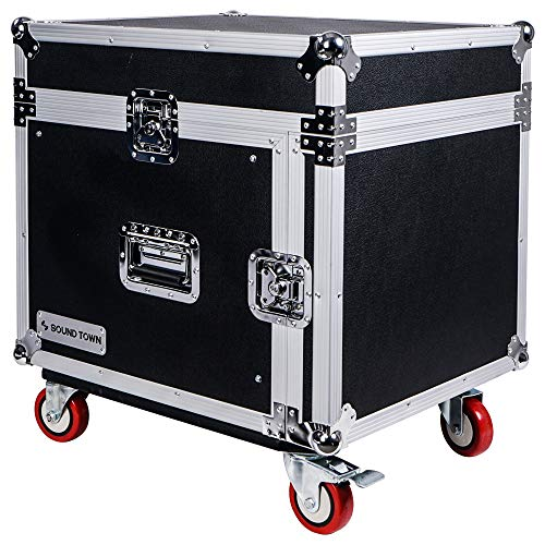 Sound Town 8-Space PA/DJ Rack/Road ATA Server Case with Slant Mixer Top and Casters (STMR-8UW) (Rack For Dj Equipment)