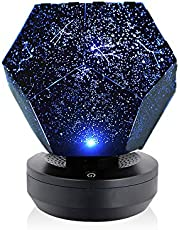 Mainstayae Romantic LED Starry Night Lamp 3D Star Projector Light for Kids Bedroom Constellation Projection Home Planetarium
