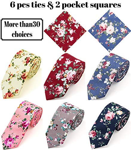 Elzama 8-pc Cotton Skinny Floral Print Tie Pocket Square Set for Special Event, Party, - Tie Print Floral