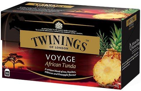 Twinings Voyage - African Tunda - Te Negro Aromatizado con Pina, Rooibos y Karkadè - Del Sabor Dulce y Jugoso (50 Bolsas)