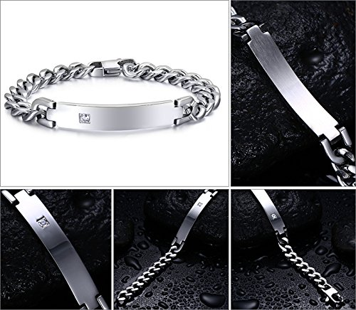 Free-Engraving Personalized Tag CZ Cubic Zircon Cube Chain I.D. Identification Bracelets for Men Women by Mealguet Jewelry (Image #3)