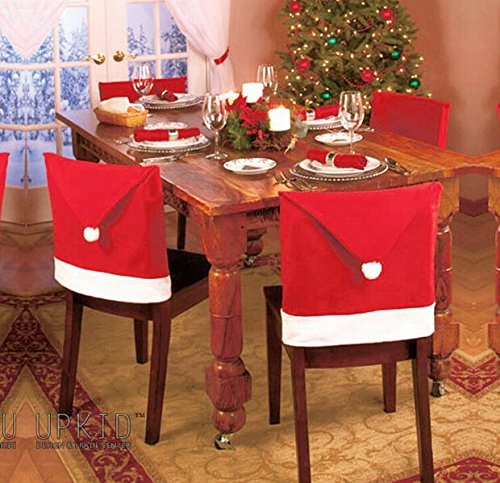 Run Santa Claus Clause Hat Chair Soft Red and White Fabric Decor Christmas Holiday Festive Brand,4 Pcs Red