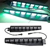 Wecade 48 LED 12V 48W Dashboard Deck Truck Boat Windshield Emergency Warning Flashlight Strobe Light Lamp Bar with Suction Cups (Green/White)