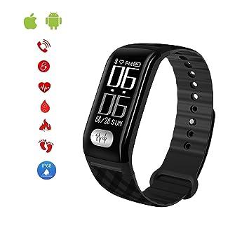Amazon.com: JIHUIA Reloj inteligente de actividad ECG + PPG ...