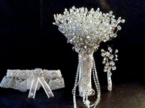 RHINESTONE WEDDING BOUQUET, GROOM'S BOUTONNIERE, GARTER BELT, BRIDAL BOUQUET 3 PC SET by Eve's Crafts
