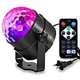 Party Lights Disco Ball Disco Lights DJ Lights 7 Colors Sound Activated Strobe Lamp Magic Stage Lights with a Remote Control for Party Karaoke DJ Bar and Music Room ( Black)