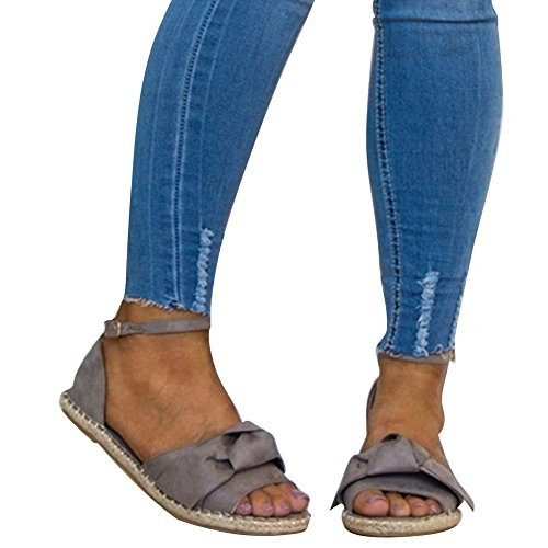 Juleya Open Toe Sandals Ladies Summer Shoes Flat Sandals Platform Peep Toe Bowknot Buckle Strappy Sandals Leisure Beach Shoes 35-44 Grey Jv9ln77xC