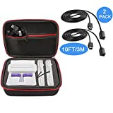 super nintendo console shell - SNES Classic Mini Case with 3M 10ft Extender Cord (for NES/WII) Hard Travel Carrying Case for Nintendo SNES Classic Mini Console (2017) & Two Controllers & HDMI Cable