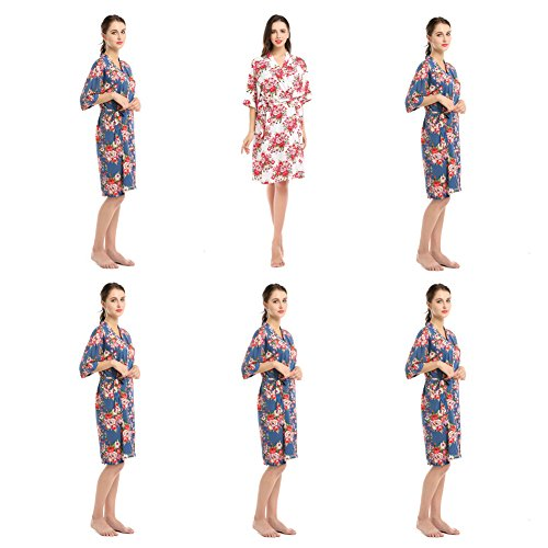 YueQiW Set Of 6 Women's Rayon Cotton Short Floral Wedding Nightgown - Bridesmaids Dressing Robe by YueQiW