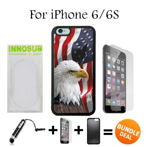 Bald Eagle American Flag Custom iPhone 6 Cases/6S Cases-Black-Plastic,Bundle 3in1 Comes with HD Tempered Glass/Universal Stylus Pen by innosub