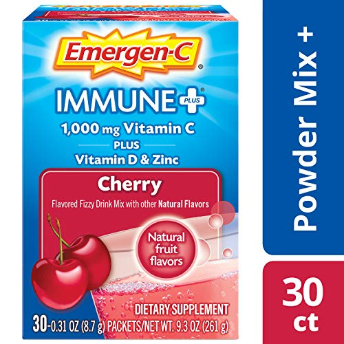Emergen-C Immune+ (30 Count, Cherry Flavor) System Support Dietary Supplement Fizzy Drink Mix with Vitamin D, 1000mg Vitamin C Plus Antioxidants & Electrolytes, 0.31 Ounce Packets
