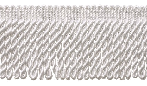 (DÉCOPRO 7 Yard Pack - 3 Inch Long White Bullion Fringe Trim, Style# BFS3 Color: A1 (21 Ft / 6.4M))