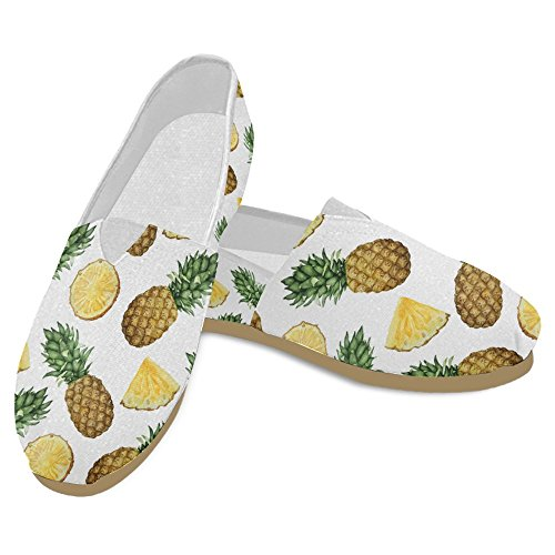 InterestPrint Womens Loafers Classic Casual Canvas Slip On Fashion Shoes Sneakers Flats Pineapple Fruit Multi 29 k5ufDJ