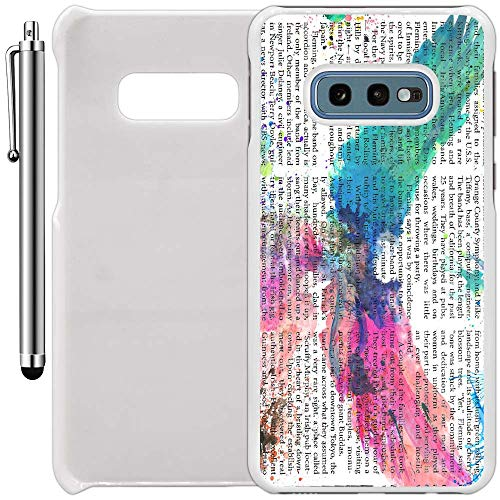 Custom Case Compatible with Galaxy S10e (5.8 inch) (Abstract Watercolor Eagle Newspaper) Plastic White Cover Ultra Slim | Lightweight | Includes Stylus Pen by ()