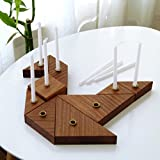 Handmade Hanukkah Menorah Inspired by Tangram Puzzle Wooden Chanukah Candle holders