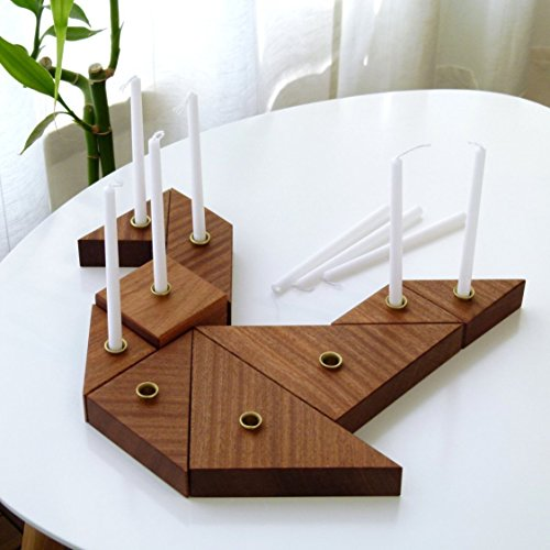 Handmade Hanukkah Menorah Inspired by Tangram Puzzle Wooden Chanukah Candle holders by Judaica for design lovers - by Armadillo
