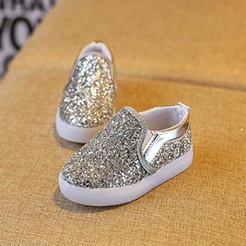 Clode® Baby Art und Weiseturnschuhe LED leuchtendes Kind Kleinkind beiläufige bunte helle Schuhe Silber