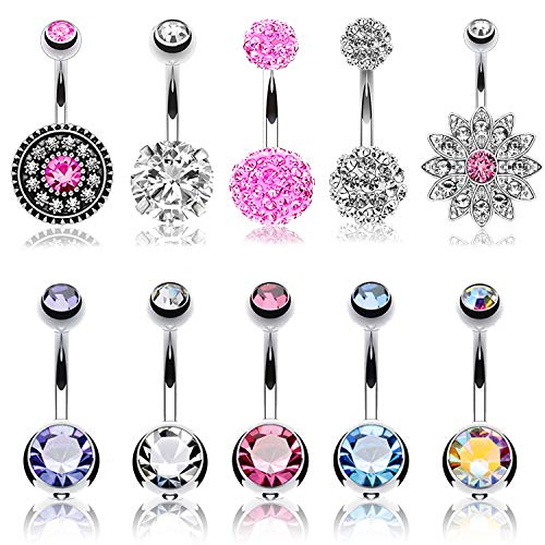 BodyJ4You 10PC Belly Button Ring Flower Disco Ball Pink CZ Steel 14G Navel Body Piercing Jewelry