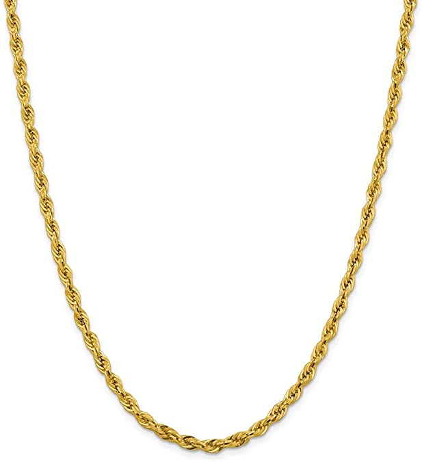 18k Necklace Rope Chain in White Gold Yellow Gold Choice of Lengths 16 18 20 24 and 0.85mm 1mm