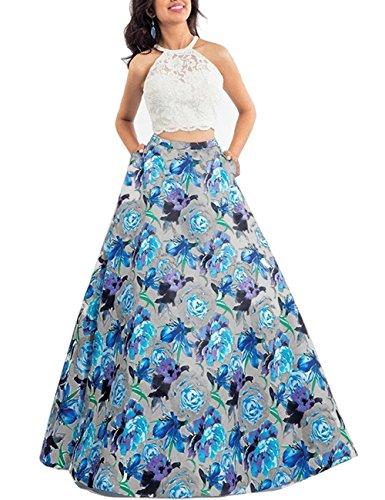 Besswedding Deux Dentelle Imprimé Floral Robe De Bal De Pièce De Femme Une Robe Formelle Soir Ligne Bwf017 Bleu
