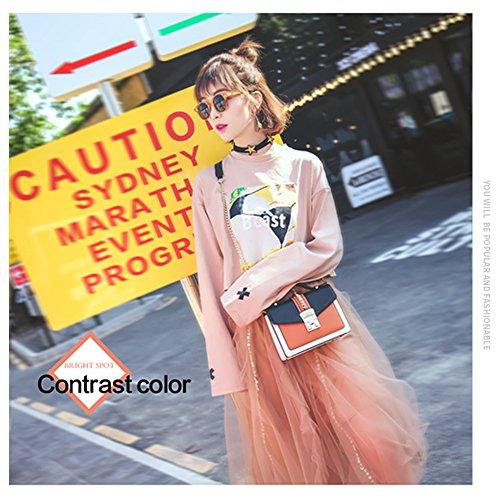 Yoome Street Style Contraste Color Flap Bolsa De La Cadena Bolso Para Las Mujeres Bolsos De La Muñeca Para Las Niñas - Naranja rojo