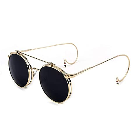 9efcb77ee23b1 Vintage Steampunk Sunglasses Men Round Designer Steam Punk Metal Women Flip  Coating Sunglasses Men Retro Circle