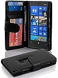 Nokia Lumia 920 Hülle in SCHWARZ von Cadorabo - Handy-Hülle mit 3 Kartenfächer und Standfunktion für Nokia Lumia 920 Case Cover Schutz-hülle Etui Tasche Book Klapp Style in OXID-SCHWARZ