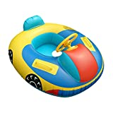 QHYK Baby Swimming Pool Float, Inflatable Car Swimming Ring, Kids Swimming Toy Trainer Seat, Steering Wheel with Safety Handheld for 6-36 Months Baby