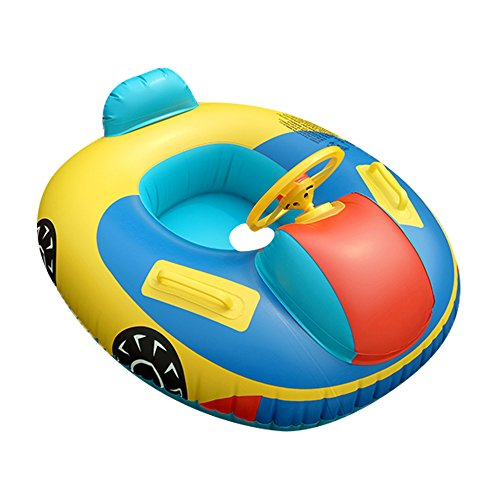 QHYK Baby Swimming Pool Float, Inflatable Baby Swimming Car Floats, Swimming Trainer Seat, Steering Wheel Handle, Bath Toys for Kids Activity Center & Water Training