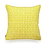 Hofdeco Decorative Throw Pillow Cover INDOOR OUTDOOR WATER RESISTANT Canvas Vibrant Yellow Greek Key 18''x18''