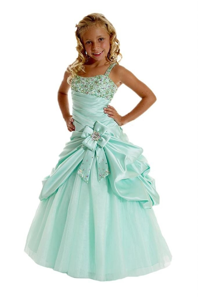 Aisha Big Girls' Spaghetti Straps Sequins Ball Gown Pageant Dresses 08 US Mint Green