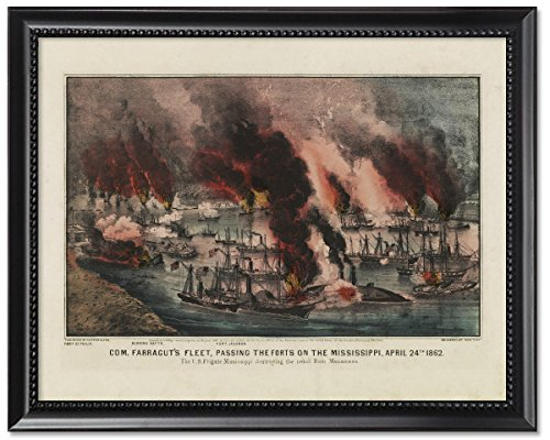 Framed Print 8x10: Com. Farragut's Fleet, Passing The Forts On The Mississippi, (Rams Portrait Picture Frame)