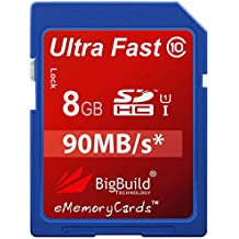eMemoryCards 8GB Ultra Fast 90MB/s Memory Card For Canon PowerShot SD800 IS Camera | Class 10 SD SDHC