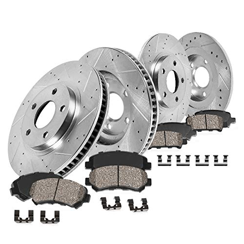 Callahan CDS02390 FRONT 321mm + REAR 301.8mm D/S 5 Lug [4] Rotors + Ceramic Brake Pads + Clips [ Audi A6 3.2L -