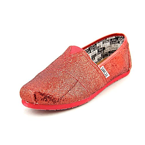 Toms Youth Classic Glitter Shoes Red, Size 3 M US Little Kid