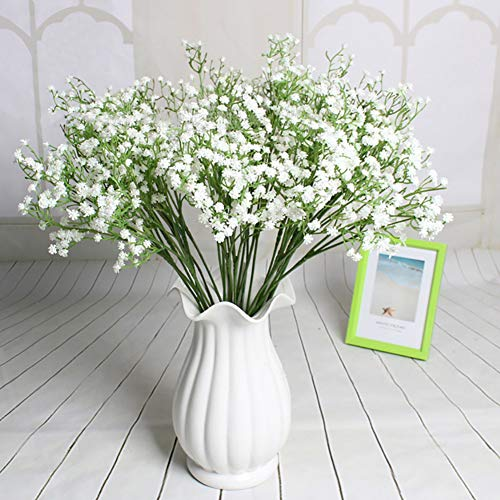 Artificial Baby Breath 12pcs Real Touch Fake Gypsophila Plants for Wedding Home Party Bridal Bouquet DIY Decoration(White)